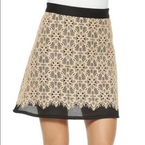 DKNY Black and Nude Mesh Lace A-Line Mini Skirt